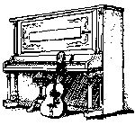 Drawing of upright piano and guitar by Scott Howson.
